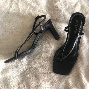 Black Square Toe High Heel Sandals